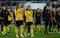 20181009 – BIEL BIENNE , SWITZERLAND : Belgian players with Tine De Caigny and Tessa Wullaert pictured looking dejected and disappointed after failing to qualify after the female soccer game between Switzerland and the Belgian Red Flames , the second leg in the semi finals play offs for qualification for the World Championship in France 2019 ; the first leg ended in equality 2-2 ;  Tuesday 9 th october 2018 at The Tissot Arena  in BIEL BIENNE , Switzerland . PHOTO SPORTPIX.BE | DAVID CATRY