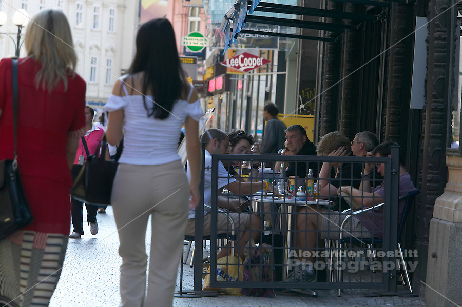 Czeck Republic, Prague, Cafes line the pedestrian area around Wenceslas Square.