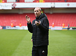 Alan Knill Assistant manager of Sheffield Utd applauds the fans during the championship match at the Bramall Lane Stadium, Sheffield. Picture date 28th April 2018. Picture credit should read: Simon Bellis/Sportimage