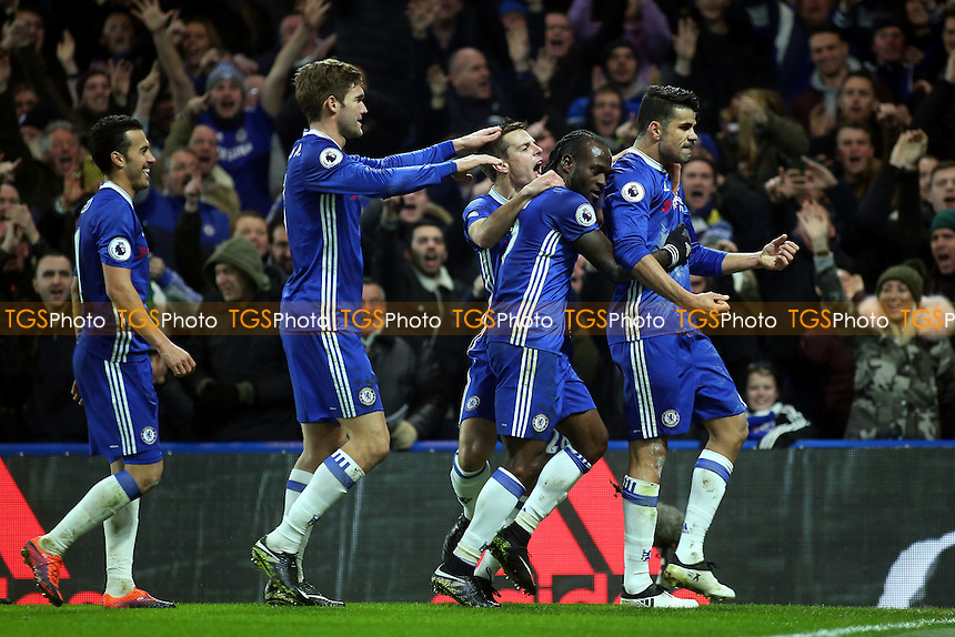 Diego Costa celebrates scoring Chelsea's opening goal during Chelsea vs Hull City, Premier League Football at Stamford Bridge on 22nd January 2017