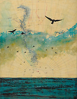 Mixed media photo transfer and encaustic painting by Jeff League of crows over antique map of Antarctica.
