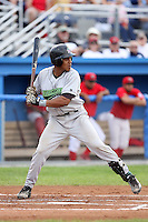 September 15 2008:  Catcher Miguel Fermin of the Jamestown Jammers, Class-A affiliate of the Florida Marlins, during a game at Dwyer Stadium in Batavia, NY.  Photo by:  Mike Janes/Four Seam Images