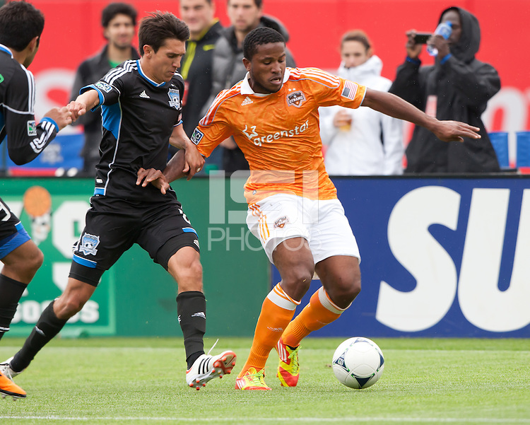 San Francisco, California - Saturday March 17, 2012: Jermaine Taylor controls the ball with Shea Salinas during the MLS match at AT&T Park. Houston Dynamo defeated San Jose Earthquakes  1-0
