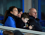 Coleen Rooney watches with her father and middle son Klay during the premier league match at the Goodison Park Stadium, Liverpool. Picture date 2nd December 2017. Picture credit should read: Simon Bellis/Sportimage