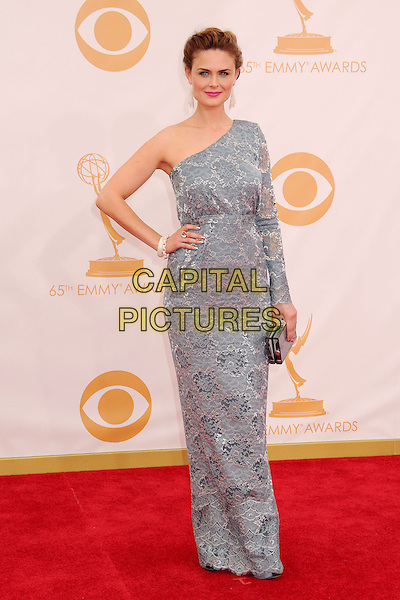 Emily Deschanel<br /> 65th Annual Primetime Emmy Awards - Arrivals held at Nokia Theatre L.A. Live, Los Angeles, California, USA.<br /> September 22nd, 2013 <br /> full length dress grey gray lace one shoulder sleeve hand on hip<br /> CAP/ADM/BP<br /> &copy;Byron Purvis/AdMedia/Capital Pictures