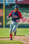29 June 2014:  Lowell Spinners infielder Deiner Lopez rounds the bases after hitting a solo home run against the Vermont Lake Monsters at Centennial Field in Burlington, Vermont. The Spinners defeated the Lake Monsters 7-5 in NY Penn League action. Mandatory Credit: Ed Wolfstein Photo *** RAW Image File Available ****