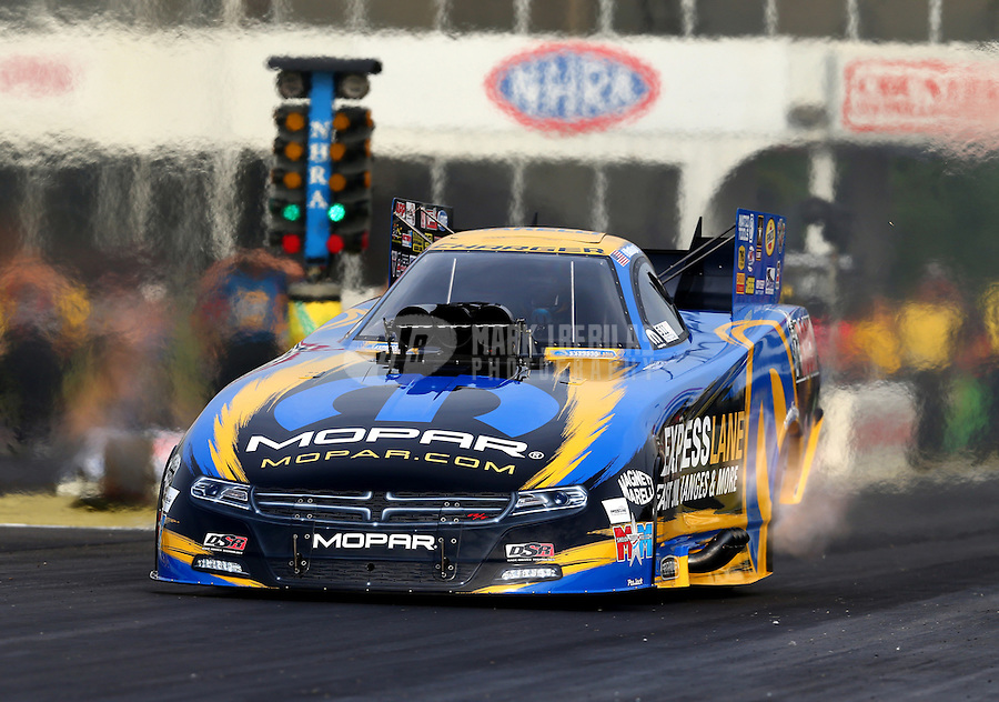 May 15, 2015; Commerce, GA, USA; NHRA funny car driver Matt Hagan during qualifying for the Southern Nationals at Atlanta Dragway. Mandatory Credit: Mark J. Rebilas-USA TODAY Sports