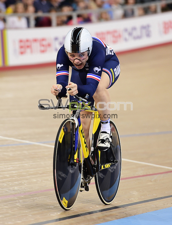 Picture by Alex Broadway/SWpix.com - 06/03/2016 - Cycling - 2016 UCI Track Cycling World Championships, Day 5 - Lee Valley VeloPark, London, England - Laurie Berthon of France competes in the Women's Omnium 500m Time Trial.