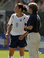 Julie Foudy, left, April Heinrichs, right, USA vs. Canada at the Third Place Match of the FIFA Women's World Cup USA 2003. USA 3, Canada, 1. (October 11, 2003). .