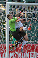 Ashlyn Harris of the Western New York Flash and Ella Masar of the magicJack collide while trying to win a cross into the box during the first half. The Western New York Flash defeated the magicJack 3-0 in Women's Professional Soccer (WPS) at Sahlen's Stadium in Rochester, NY on May, 22 2011.