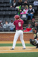 Mitch Klug (6) of the Harvard Crimson at bat against the Wake Forest Demon Deacons at David F. Couch Ballpark on March 5, 2016 in Winston-Salem, North Carolina.  The Crimson defeated the Demon Deacons 6-3.  (Brian Westerholt/Four Seam Images)