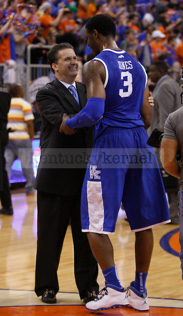 UK Head Coach John Calipari and forward Terrence Jones during the second half of the University of Kentucky's men basketball game against University of Florida 3/4/12 at the O'Connell Center in Gainesville, Fl. Photo by Quianna Lige | Staff