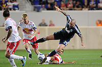 Rafa Marquez (4) of the New York Red Bulls fouls Eric Hassli (29) of the Vancouver Whitecaps earning a yellow card. The New York Red Bulls and the Vancouver Whitecaps played to a 1-1 tie during a Major League Soccer (MLS) match at Red Bull Arena in Harrison, NJ, on September 10, 2011.