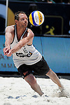 ST. PETERSBURG, FL - JUNE 18: Christian Varenhorst of the Netherlands dives to dig the ball during the FIVB Beach Volleyball World Tour St. Petersburg Grand Slam presented by the AVP on June 18, 2015 at Spa Beach in St. Petersburg, Florida. (Photo by Donald Miralle for the AVP)