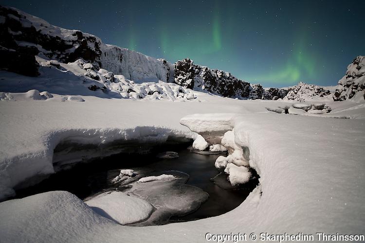 Winter night at Þingvellir National Park, southwest Iceland
