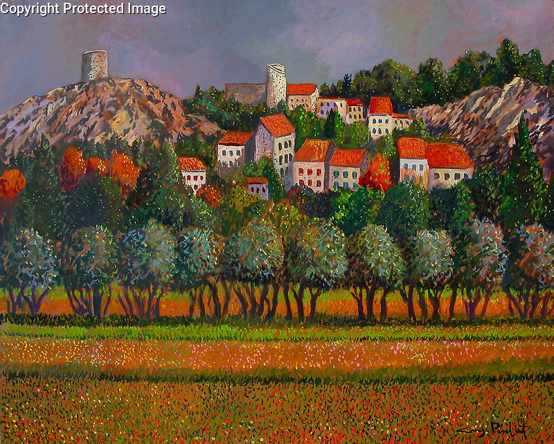 """""""Provence; Eygalieres""""<br /> ORIGINAL Acrylic on Canvas<br /> <br /> 39.25 x 32.75 inches<br /> $25,000<br /> <br /> Eygalieres is a small quiet village very near St. Remy de Provence in the south of France.<br /> <br /> The village is surrounded by the superb landscape of the Alpilles, with olive groves, green valleys and vineyards near tastefully restored residences."""