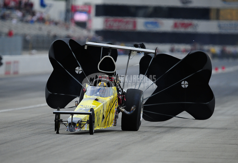 Nov. 11, 2011; Pomona, CA, USA; NHRA top alcohol dragster driver Cody Perkins during qualifying at the Auto Club Finals at Auto Club Raceway at Pomona. Mandatory Credit: Mark J. Rebilas-.