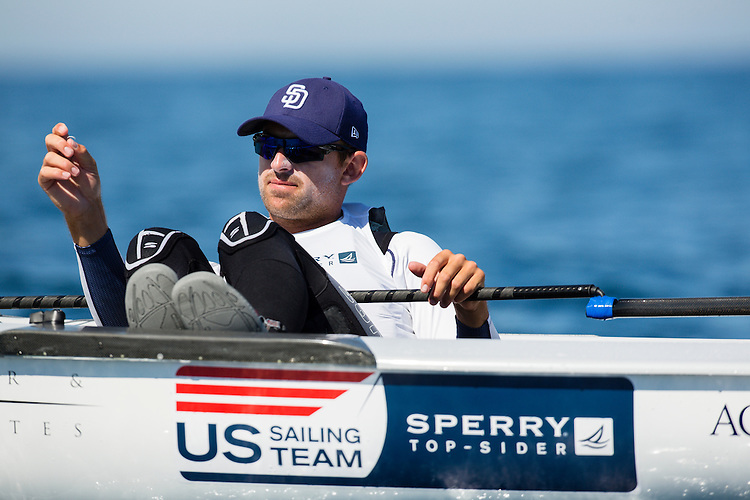 SANTANDER, SPAIN - SEPTEMBER 14:  Finn - USA6 - Caleb Paine in action during Day 4 of the 2014 ISAF Sailing World Championships on September 15, 2014 in Santander, Spain.  (Photo by MickAnderson/SAILINGPIX via Getty Images)