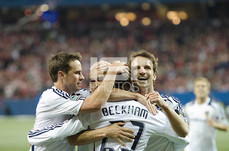 07 March 2012: LA Galaxy players celebrate after LA Galaxy forward Landon Donovan #10 scored the equalizer late in the second half during a CONCACAF Champions League game between the LA Galaxy and Toronto FC at the Rogers Centre in Toronto..The game ended in a 2-2 draw.