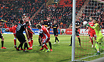 12.04.2019, Stadion an der Wuhlheide, Berlin, GER, 2.FBL, 1.FC UNION BERLIN  VS. Jahn Regensburg, <br /> DFL  regulations prohibit any use of photographs as image sequences and/or quasi-video<br /> im Bild 2: 2 durch Sebastian Polter (1.FC Union Berlin #9), Sebastian Andersson (1.FC Union Berlin #10), Joshua Mees (1.FC Union Berlin #8),<br /> Sebastian Nachreiner (Jahn Regensburg #28), Marcel Correia (Jahn Regensburg #14), Andre Weis (Jahn Regensburg #33), Maximilian Thalhammer (Jahn Regensburg #20)<br /> <br /> <br />      <br /> Foto &copy; nordphoto / Engler