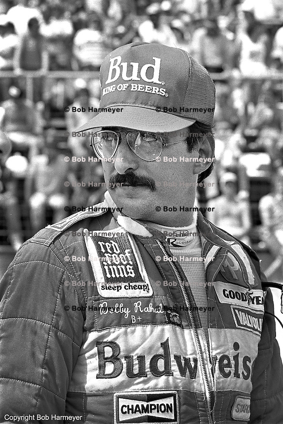 Bobby Rahal, driver of the Budweiser-sponsored Truesports 86C Cosworth, at the 1986 CART IndyCar race at Phoenix International Raceway near Phoenix, Arizona.