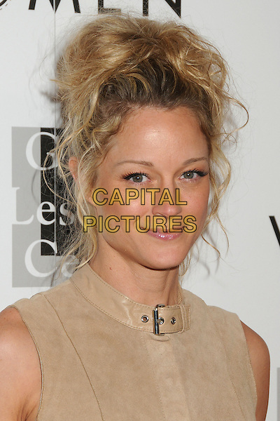 "Teri Polo.LA Gay & Lesbian Center's ""An Evening With Women"" 2013 held at the Beverly Hilton Hotel, Beverly Hills, California, USA, 18th May 2013..portrait headshot buckle collar sleeveless beige suede .CAP/ADM/BP.©Byron Purvis/AdMedia/Capital Pictures"