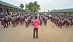 Students line up for an assembly at the beginning of the day in the Loreto Primary School in Rumbek, South Sudan. The Loreto Sisters began a secondary school for girls in 2008, with students from throughout the country, but soon after added a primary in response to local community demands.