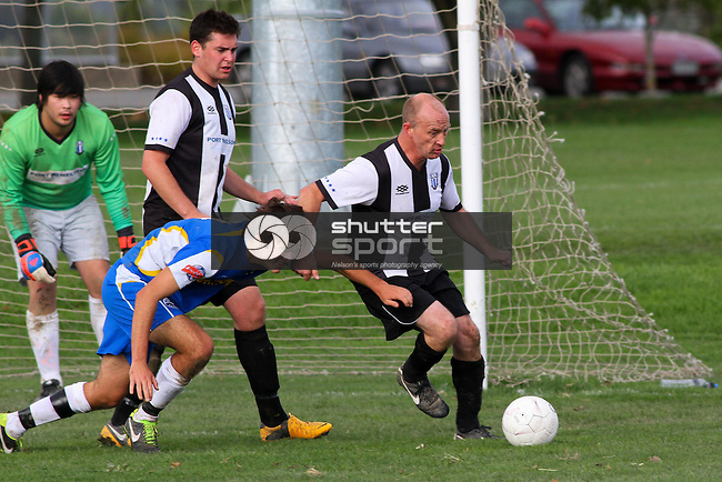 Nelson Pine Industries Division Two Football: AMI Nelson Suburbs 2nd X1 v FC Nelson Fulton Hogan, 27 April 2013, Saxton Field, Nelson, New Zealand<br /> Photo: Marc Palmano/shuttersport.co.nz