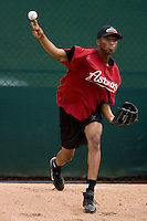 Tio McLean #35 of the Greeneville Astros throws a bullpen session at Pioneer Park June 28, 2009 in Greeneville, Tennessee. (Photo by Brian Westerholt / Four Seam Images)