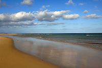 White clouds over deserted beach,Playa de Sotavento de  Jandia, Fuerteventura, Canary Islands,Spain.