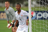 Jordan McCrary (4) guards the near post on a corner kick. The US U-17 Men's National Team defeated the Development Academy Select Team 3-1 during day one of the US Soccer Development Academy  Spring Showcase in Sarasota, FL, on May 22, 2009.