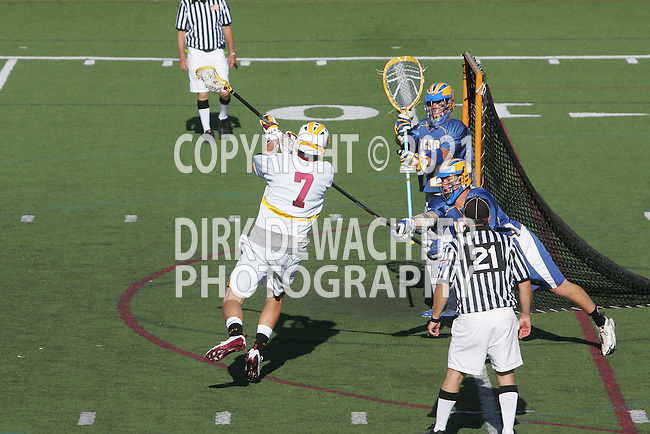 Orange, CA 05/01/10 - Tyler Westfall (ASU # 7) shoots on goal as Andrew Cooney (UCSB # 14) defends him and Zack Carson is focused at the goal during the UC Santa Barbara-Arizona State MCLA SLC semi-final game in Wilson Field at Chapman University.  Arizona State advanced to the final by defeating UC Santa Barbara 13-9.