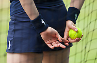 A Ball Girl holds a Tennis Ball during the Mens Final, Wimbledon Championships 2017, Day 13, Mens Final, All England Lawn Tennis & Croquet Club, Church Rd, London, United Kingdom - 16th July 2017