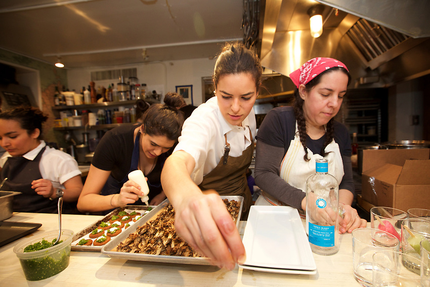 NEW YORK, NY - March, 13, 2017: In the kitchen at &quot;NY Buzz&quot; a dinner at the James Beard House led by Cosme chef Daniela Soto-Innes and featuring chefs Missy Robbins of Lillia, Isabel Coss of Agern and Fany Gerson of La Newyorkina. <br /> <br /> Credit: Clay Williams for The James Beard Foundation.<br /> <br /> &copy; Clay Williams / http://claywilliamsphoto.com