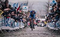 Niki Terpstra (NED/Quick-Step Floors) leading the race over the last ascent of the Oude Kwaremont<br /> <br /> 102nd Ronde van Vlaanderen 2018 (1.UWT)<br /> Antwerpen - Oudenaarde (BEL): 265km