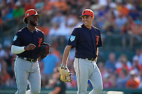 Detroit Tigers starting pitcher Matthew Boyd (48) and first baseman Niko Goodrum (28) return to the dugout after Boyd made a catch on a line drive for the third out during a Grapefruit League Spring Training game against the Baltimore Orioles on March 3, 2019 at Ed Smith Stadium in Sarasota, Florida.  Baltimore defeated Detroit 7-5.  (Mike Janes/Four Seam Images)