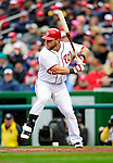 31 March 2011: Washington Nationals outfielder Laynce Nix at bat during Opening Day action against the Atlanta Braves at Nationals Park in Washington, District of Columbia. The Braves shut out the Nationals 2-0 to start off the 2011 Major League Baseball season. Mandatory Credit: Ed Wolfstein Photo