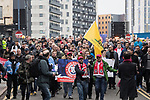 © Joel Goodman - 07973 332324. 24/03/2018. Birmingham, UK. FLA supporters march to Birmingham City Centre at a Football Lads Alliance demonstration against Islam and extremism . Offshoot group, The True Democratic Football Lads Alliance, also hold a separate demonstration . Photo credit : Joel Goodman