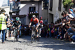 The breakaway with Cesare Benedetti (ITA) Bora-Hansgrohe, Damiano Caruso (ITA) Bahrain-Merida and Eddie Dunbar (IRL) Team Ineos climb the Muro of Via Principi di Acaja in Pinerolo near the end of Stage 12 of the 2019 Giro d'Italia, running 158km from Cuneo to Pinerolo, Italy. 23rd May 2019<br /> Picture: Fabio Ferrari/LaPresse | Cyclefile<br /> <br /> All photos usage must carry mandatory copyright credit (© Cyclefile | Fabio Ferrari/LaPresse)
