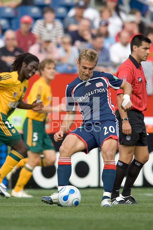 The New England Revolution's Taylor Twellman strikes the ball. The New England Revolution defeated the Los Angeles Galaxy, 4-0, on May 6 at Gillette Stadium, Foxborough, MA.