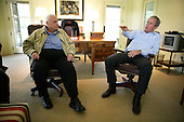 United States President George W. Bush emphasizes a point as he shares a moment with Prime Minister Ariel Sharon of Israel during Sharon's visit Monday, April 11, 2005, to the President's ranch in Crawford, Texas.  <br /> Mandatory Credit: Eric Draper - White House via CNP