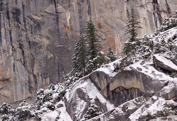"The dramatic winter cliffs above Yosemite Valley form the ""frosting on the cake""  for visitors enjoying Yosemite valley in the winter."