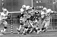 Minnesota Vikings QB Fran Tarkenton chased by host of Raiders, Kelvin Korver, Bubba Smith and Otis Sistrunk. (1973 photo/Ron Riesterer)