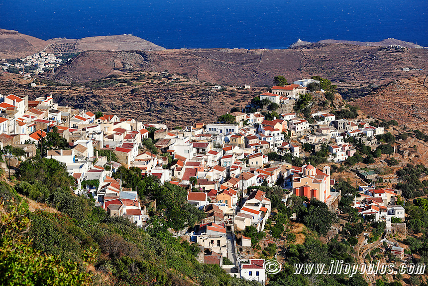 Ioulida, the capital of Kea built with traditional Cycladic architecture, located in the mainland of the island in Greece