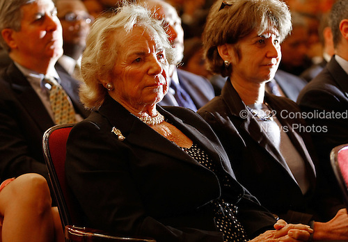 Washington, DC - March 27, 2009 -- Ethel Kennedy (2nd-L) and her daughter Kathleen Kennedy Townsend (R) attend the ceremonial installation for United States Attorney General Eric Holder at George Washington University March 27, 2009 in Washington, DC. Holder has been serving as the 82nd attorney general since he was confirmed by the Senate in February of this year.  .Credit: Chip Somodevilla - Pool via CNP