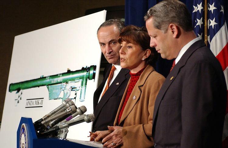 Missiles2_051503 --- Chuck Schumer, D-N.Y. Barbara Boxer, D-CA., and Steve Israel, D-N.Y., talk with reporters in the Senate Studio of the U.S. Capitol about outfitting commercial airlines with anti-stinger missile technology.