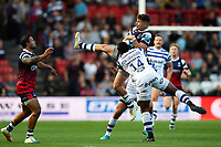Luke Daniels of Bristol Bears claims the ball in the air. Gallagher Premiership match, between Bristol Bears and Bath Rugby on August 31, 2018 at Ashton Gate Stadium in Bristol, England. Photo by: Patrick Khachfe / Onside Images