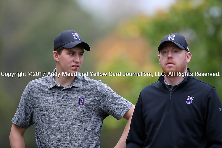 GREENSBORO, NC - OCTOBER 29: Northwestern's Eric McIntosh (SCO) (left) and head coach David Inglis (ENG) (right) on the 3rd tee. The third round of the UNCG/Grandover Collegiate Men's Golf Tournament was held on October 29, 2017, at the Grandover Resort East Course in Greensboro, NC.