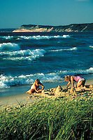 Beach with Lake Michigan waves and dunes of the National Lakeshore, recreation. Sleeping Bear Dunes NLS Michigan USA.