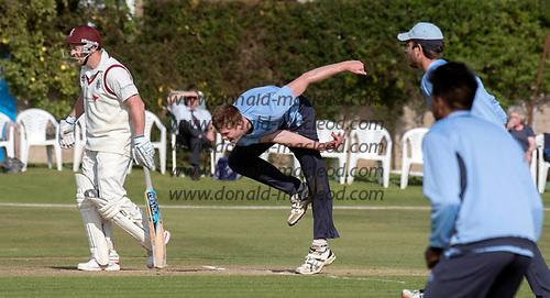 This image is FREE to use (first use only), courtesy of Cricket Scotland - Scottish Cup Final - Carlton CC V Watsonians CC at Forthill, Dundee - Carlton skipper Ally Evans in full flow - picture by Donald MacLeod - 20.08.2017 - 07702 319 738 - clanmacleod@btinternet.com - www.donald-macleod.com
